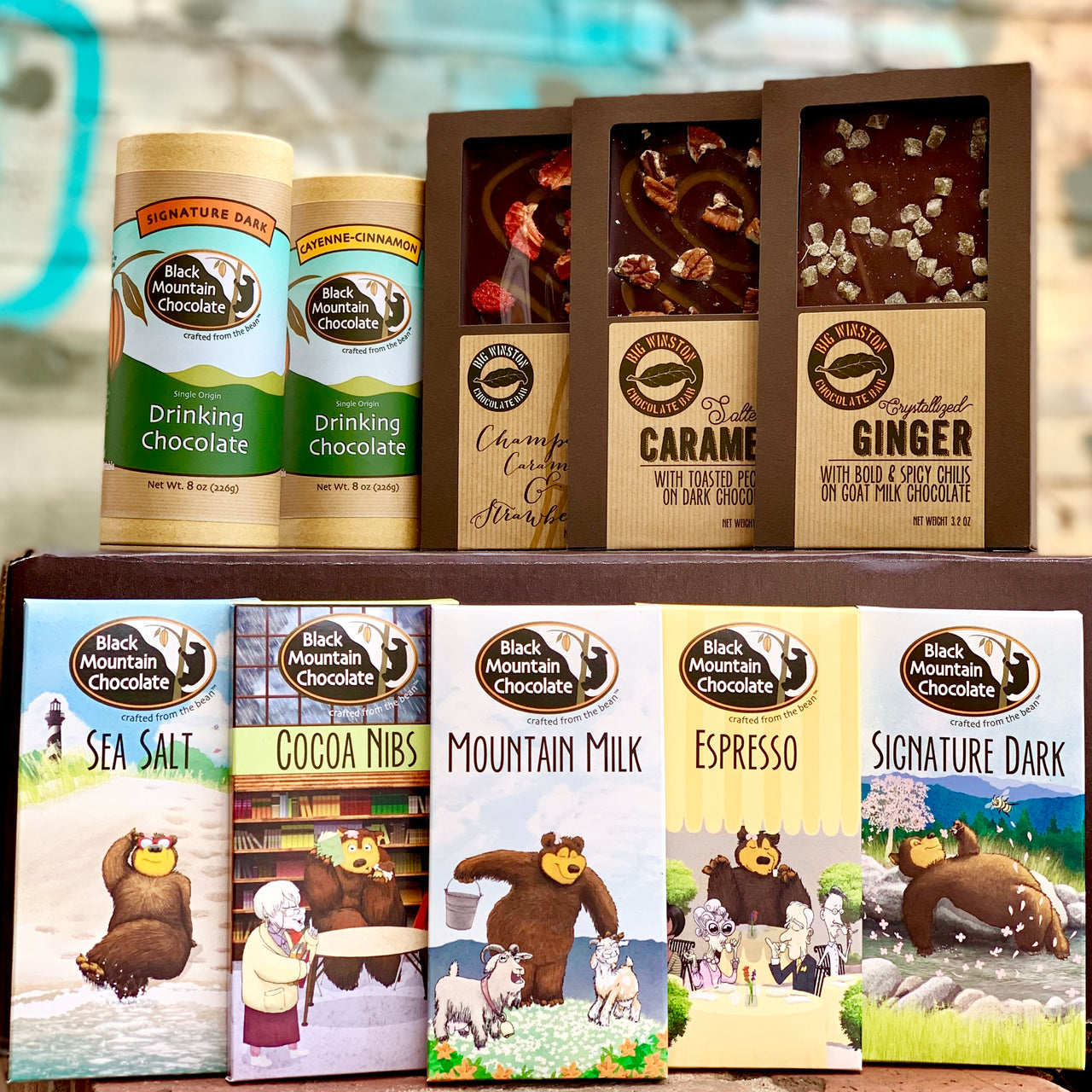 Ultimate Black Mountain Chocolate Sampler Gift Box- contains all 5 of our original bars plus our 3 deluxe Big Winston Bars