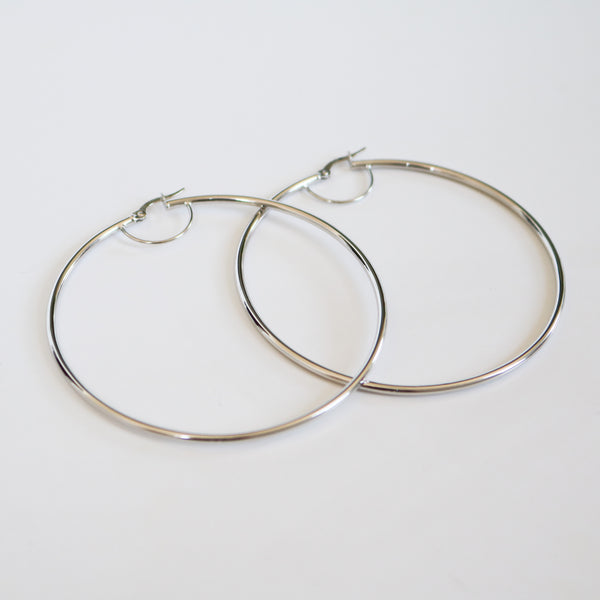 White Gold Classic Hoops