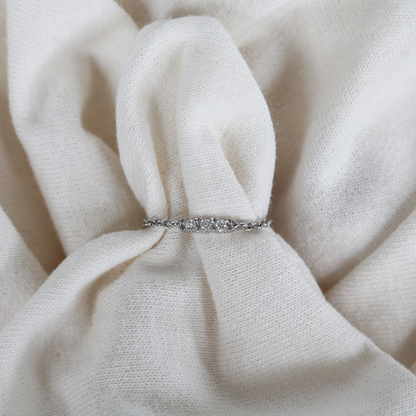 White Gold Bar Chain Ring