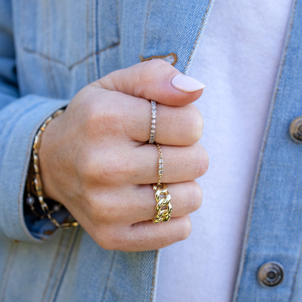 Yellow Gold Bar Chain Ring
