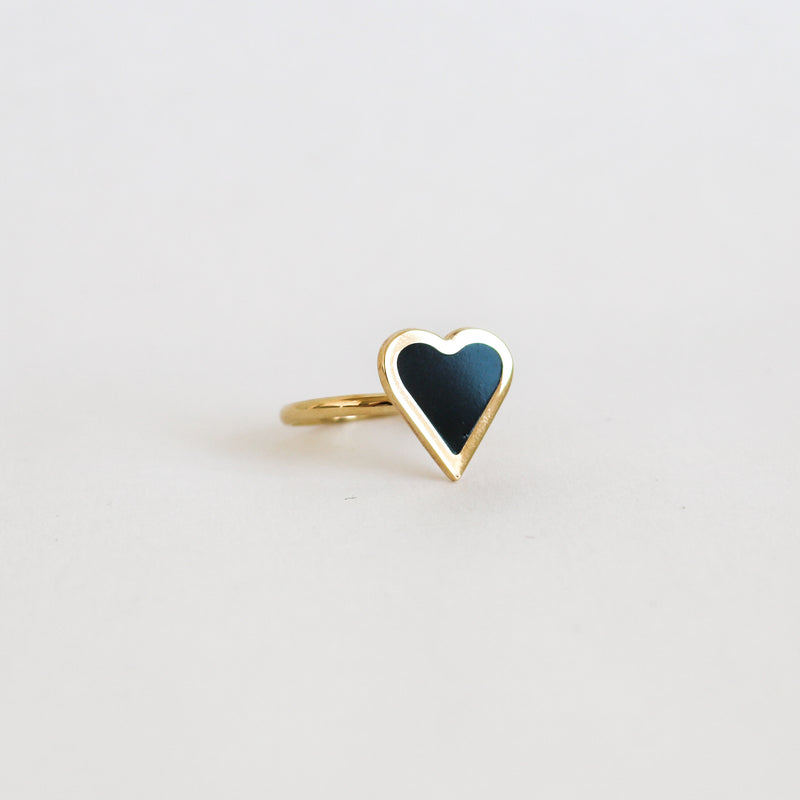Black Enamel Heart Ring