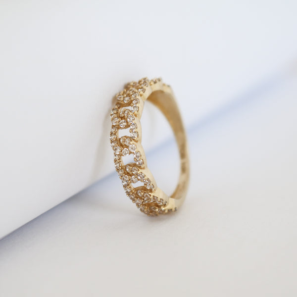 Paved Cuban Link Ring
