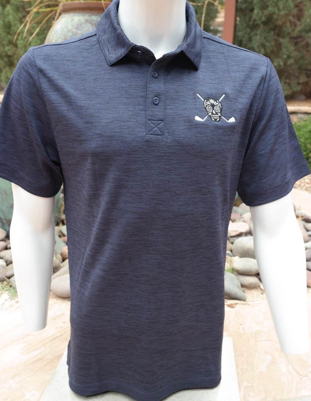 Chuco Heather Golf Polo- Heather Navy