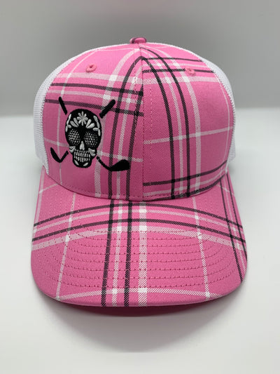 Chuco Golf Hat- Light Pink Plaid