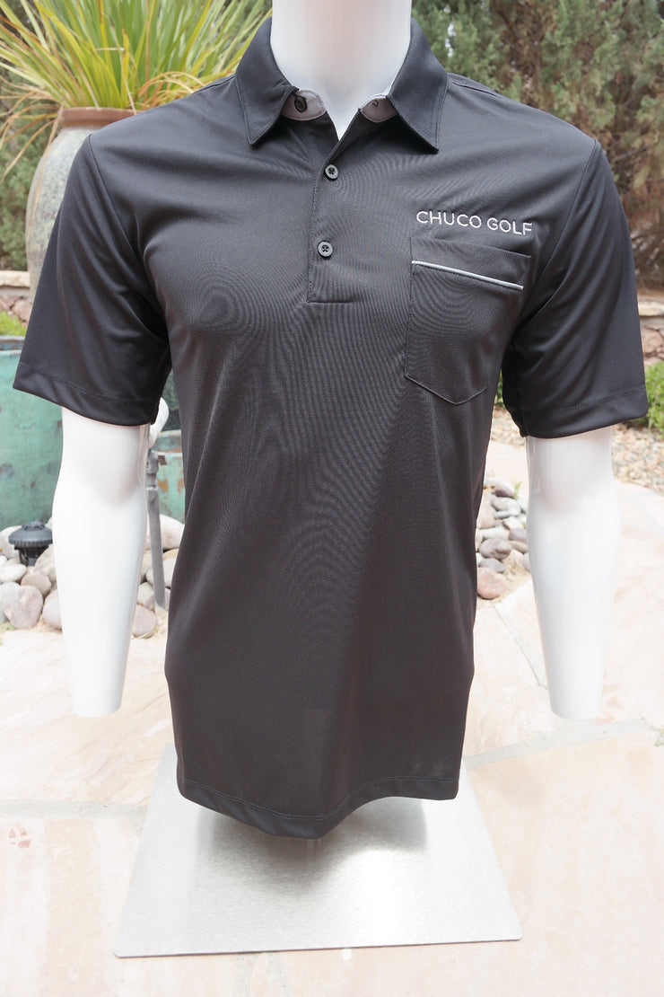 "Chuco Pocket Sport Polo- The ""Geek"" Black"