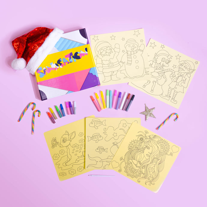 Girls Christmas 5pc Sand Art Craft Pack (includes glitter)