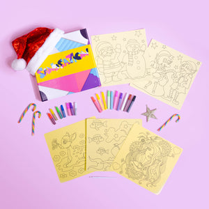 Girls Christmas 10pc Sand Art Craft Pack (includes glitter)
