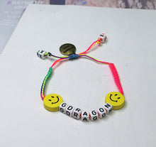 Load image into Gallery viewer, HUANZHI 2020 New Punk Colorful Weave Ceramic Smiley Face Letters Blocks Metal Pendant Adjustable Bracelet for Women Men Couple