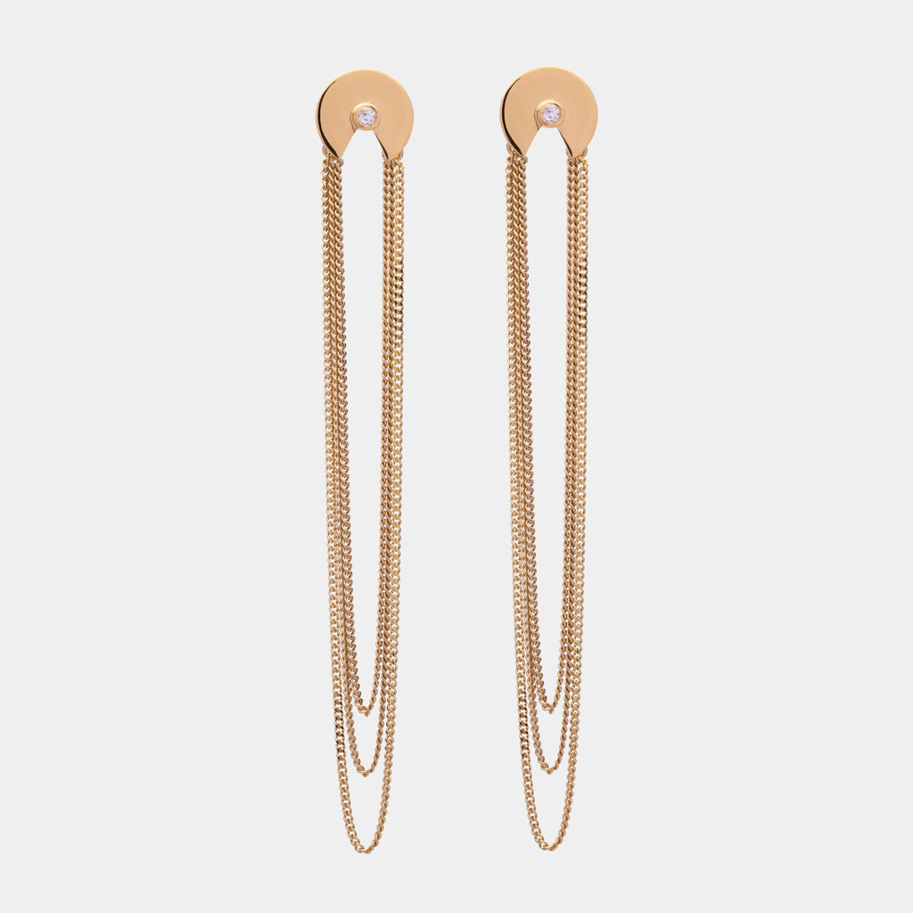 Chained Semi Earrings Gold