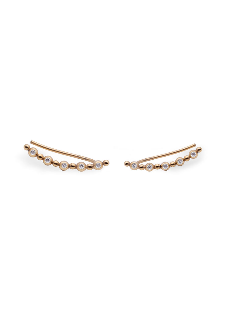 Stratos Ear Climber 14K w Top Wesselton diamonds