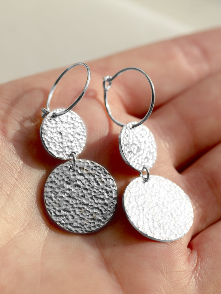 Disco Drop Earrings Small Silver