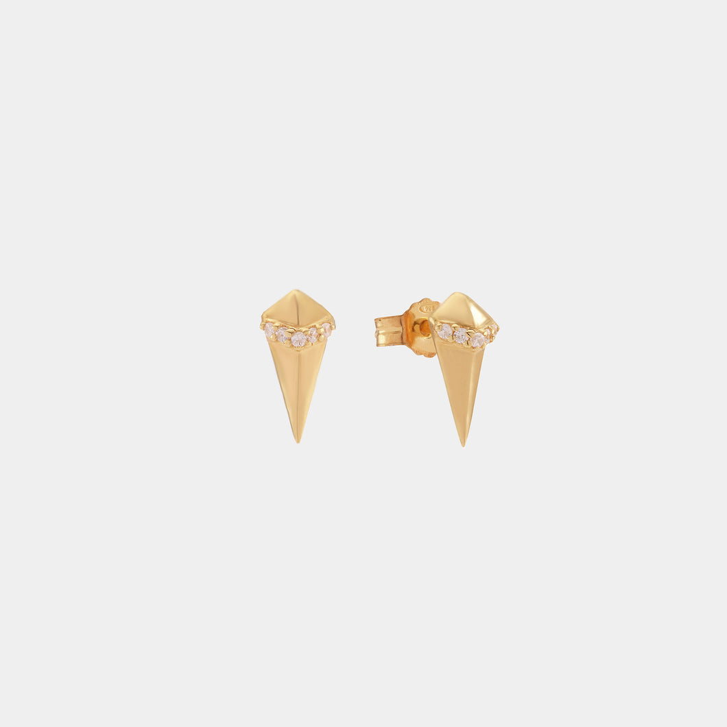 Fang Stud With Stones Gold