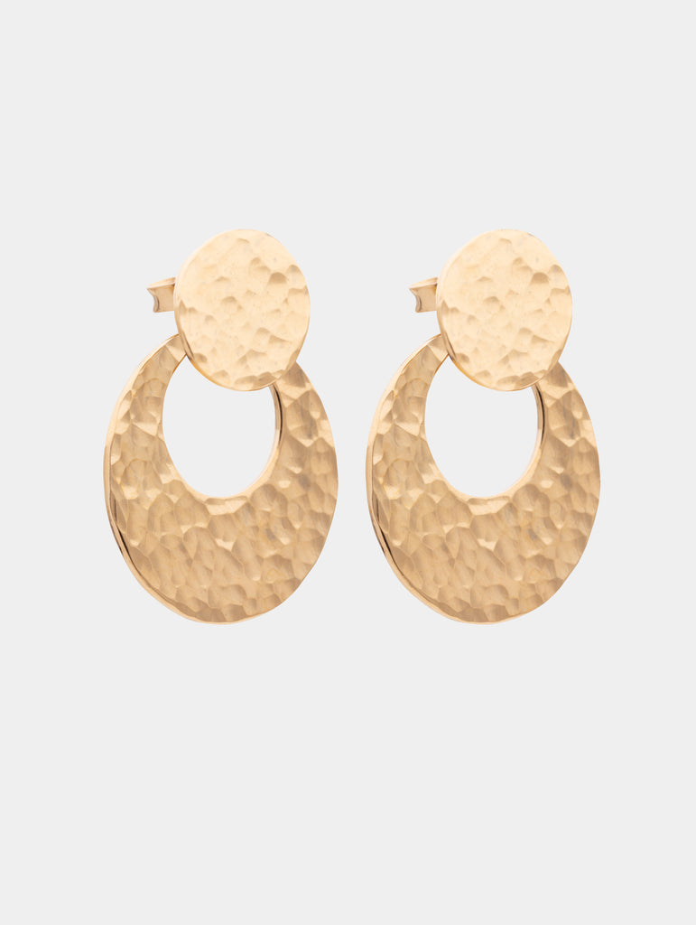 Double Halo Earrings Gold