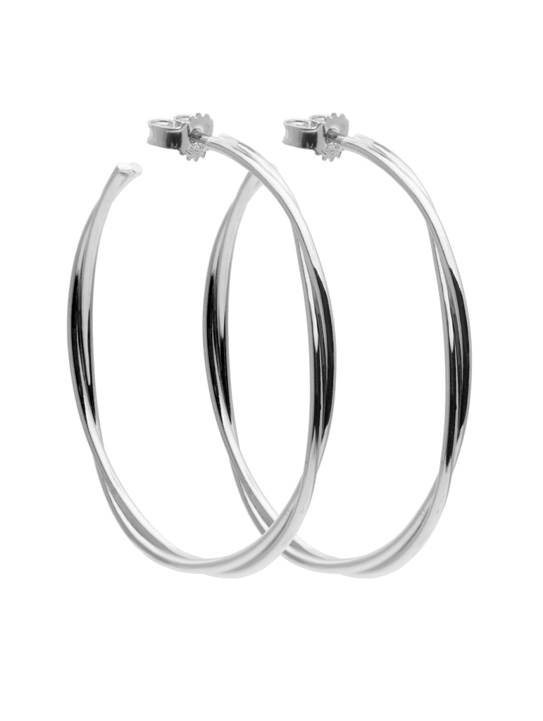 Twist Hoops Large Silver