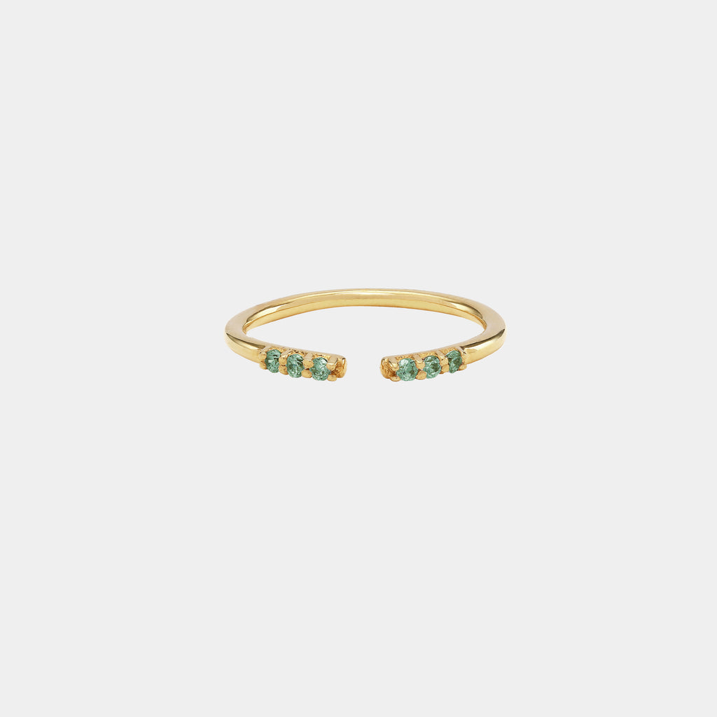 Open Ring with Stones Gold/Green