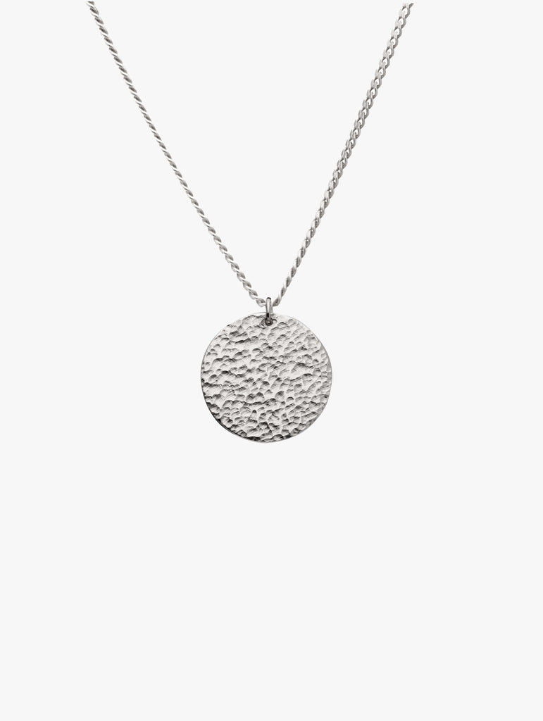 Textured Pendant Necklace Silver