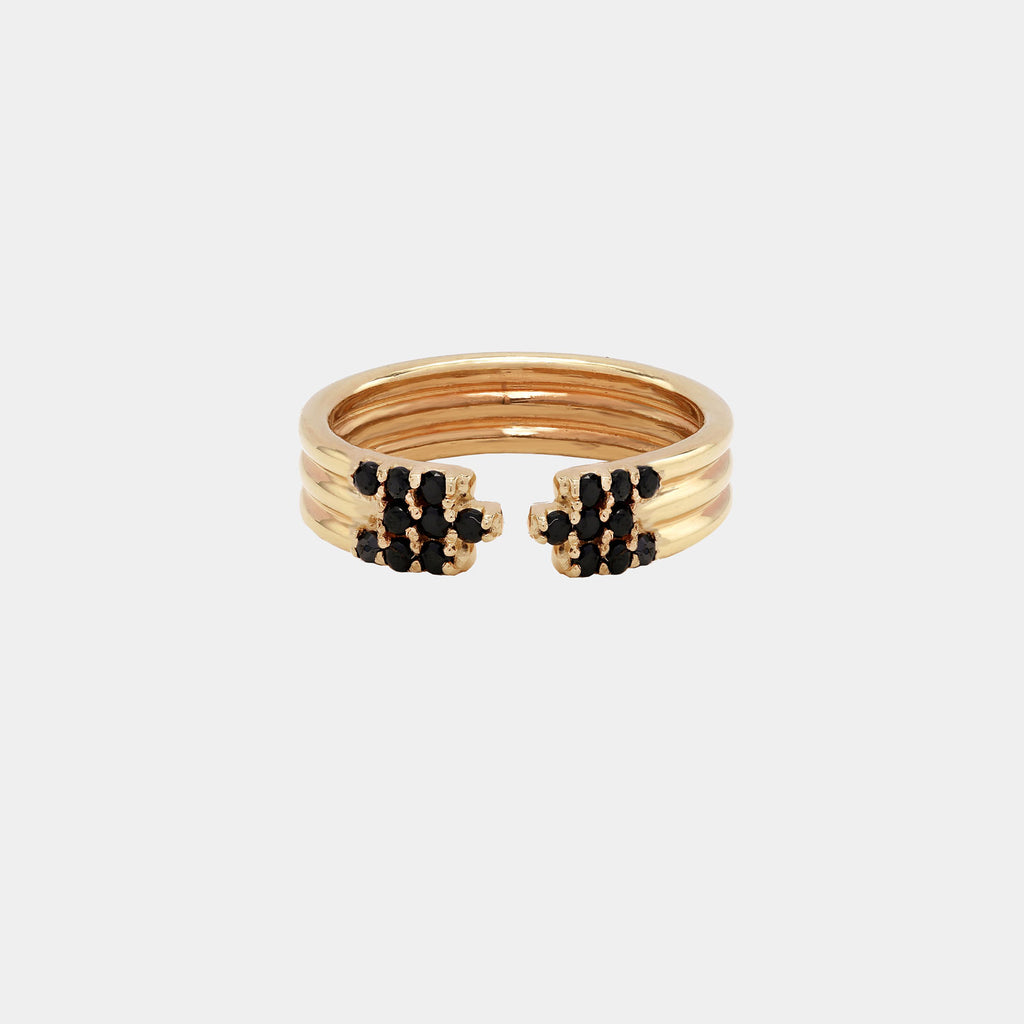 Open Triple Ring With Stones Gold