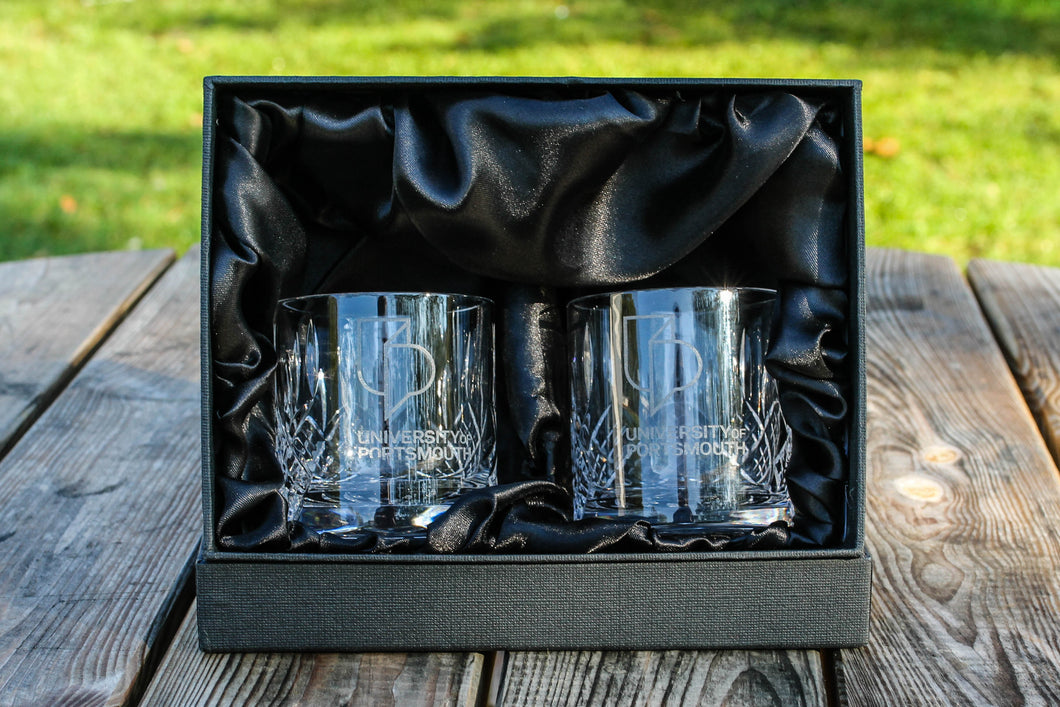 University Pair of Cut Crystal Tumblers