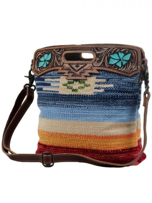 Myra Bag Azure Petals Hand-Tooled Bag
