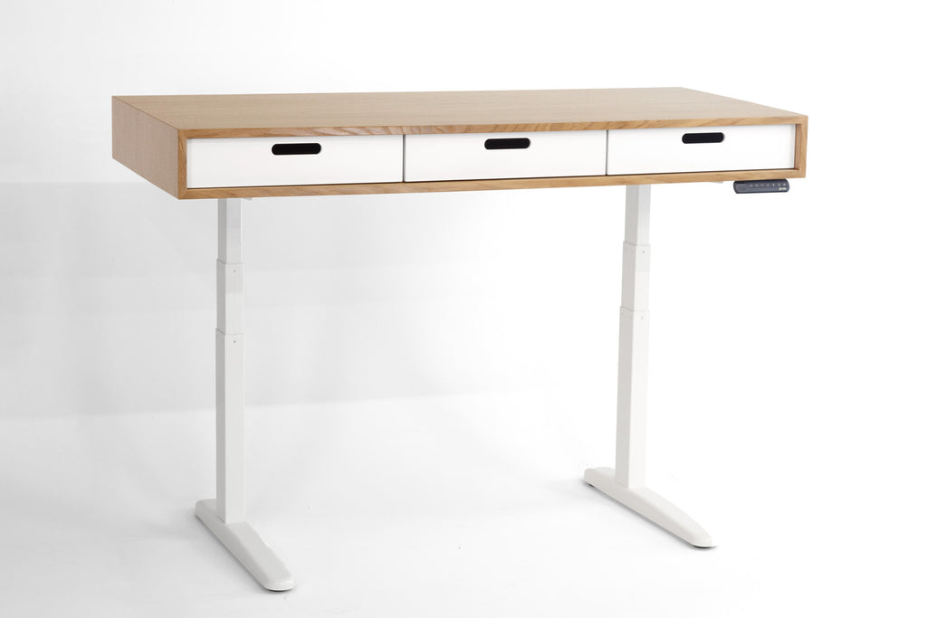 The Evolve - Electric Adjustable Standing Desk - Midcentury Modern Office Desk - In Solid Quarter Sawn Oak