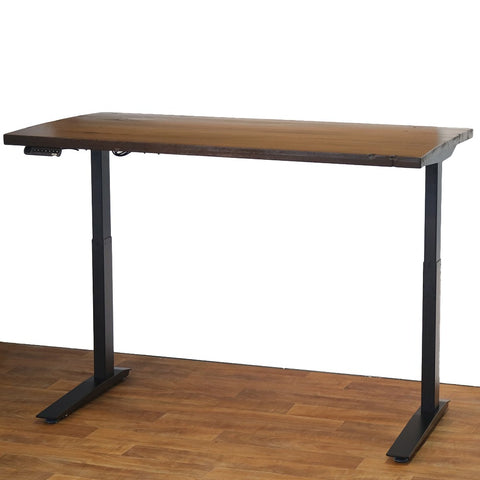 Reclaimed Wood Slab Desks - Sit or Standing Solid Wood Desktops with Jarvis Electric Adjustable Standing Desk Base