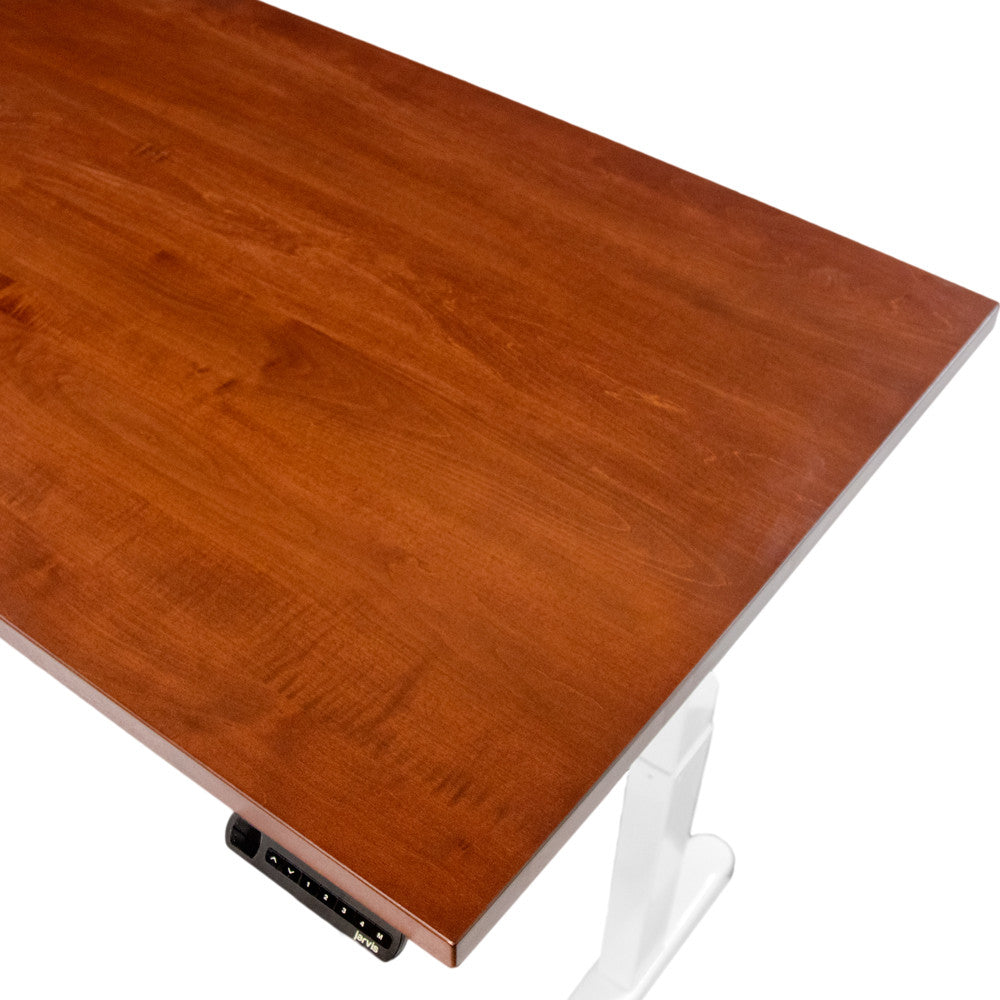 Hardwood Slab Desks Solid Wood Tops With Jarvis Electric Adjustable Standing Desk Base