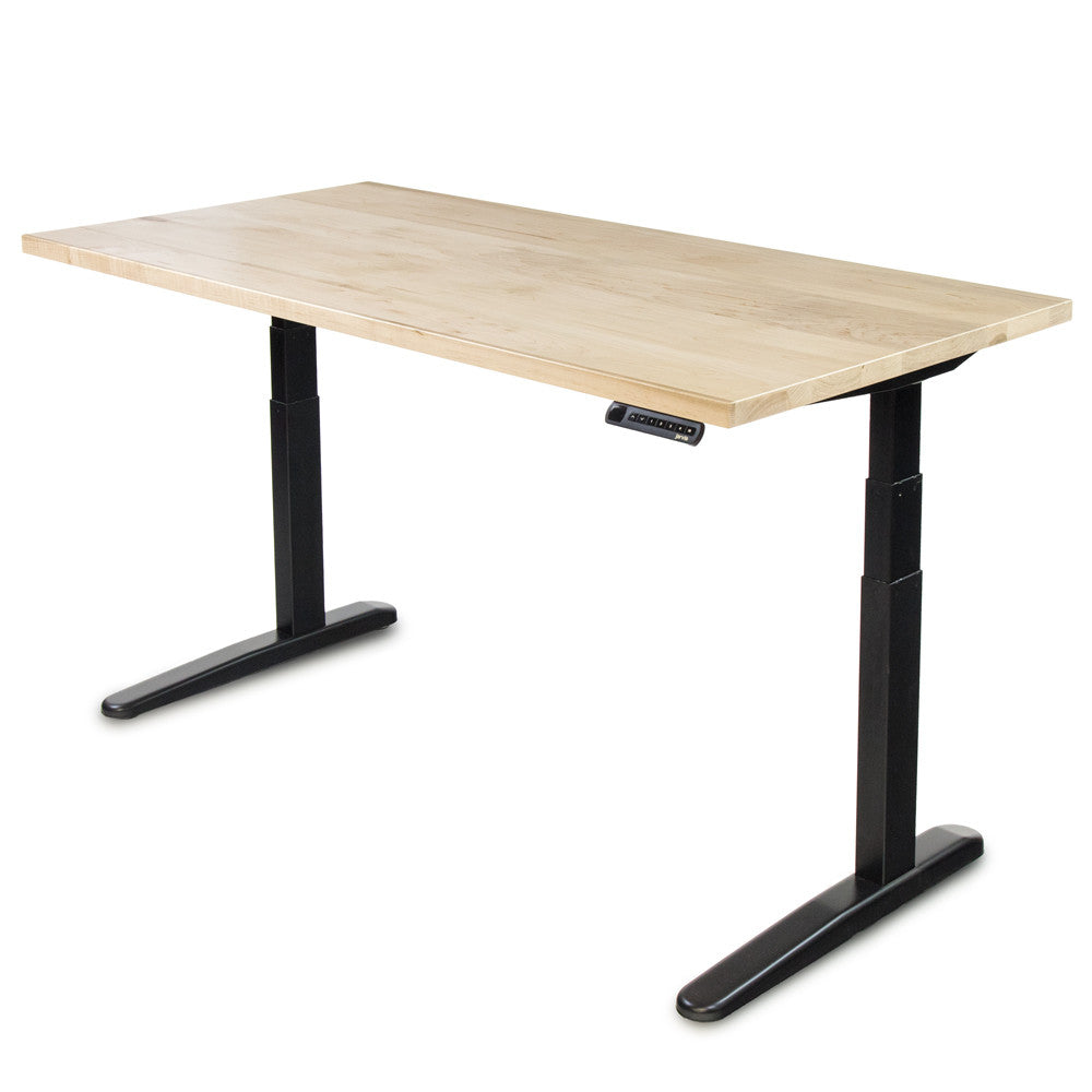 Hardwood Slab Desk // Solid Wood Tops ft. The Jarvis Electric Adjustable Standing Desk Base