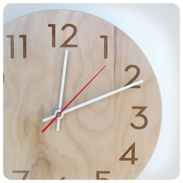 Modern Numbers Clock in Natural Birch by Uncommon Handmade