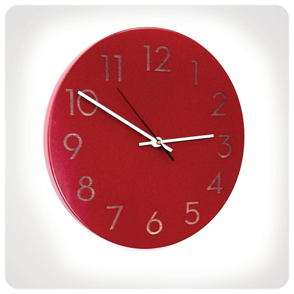 Modern Numbers Clock in Poppy Red by Uncommon Handmade