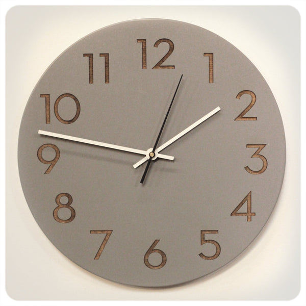 Modern Numbers Clock in Ash Gray by Uncommon Handmade