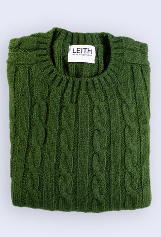 Forest Green Cable Knit Shetland Jumper