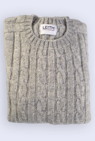 Granite Grey Cable Knit Shetland Jumper