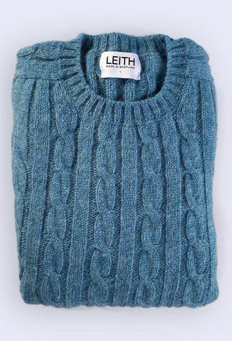 Seabright Blue Cable Knit Shetland Jumper