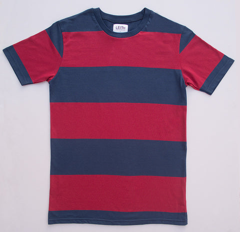 Red and blue block stripe t-shirt