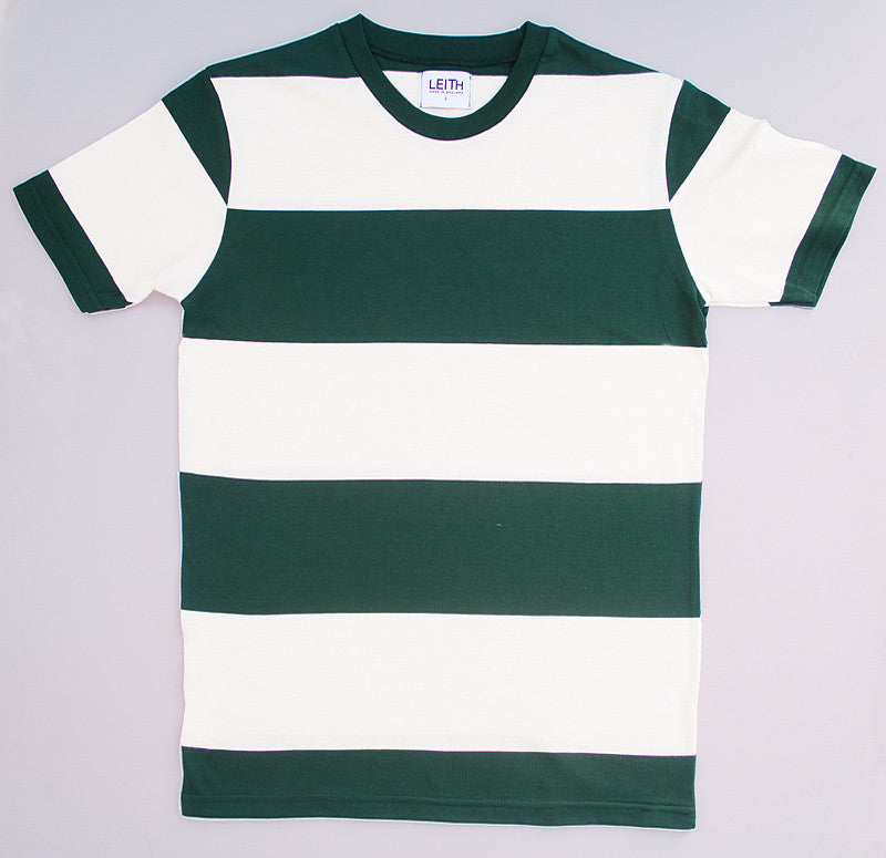 Green and white block stripe t-shirt