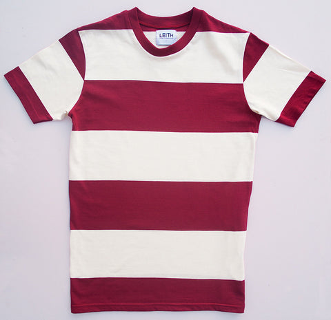 Red and white block stripe t-shirt