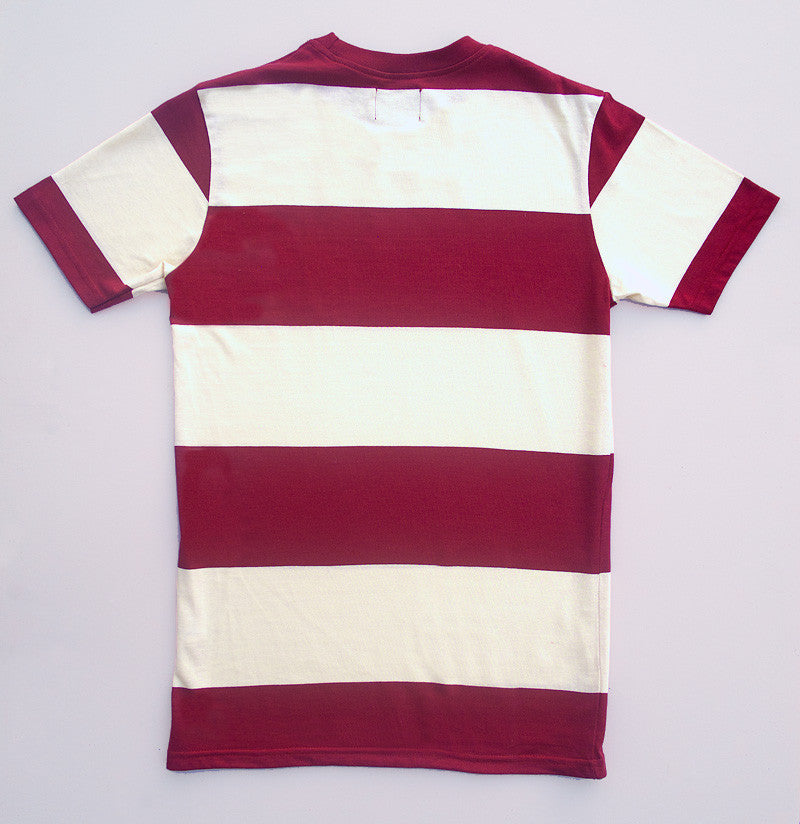 Red And White Block Stripe T Shirt Leith Clothing