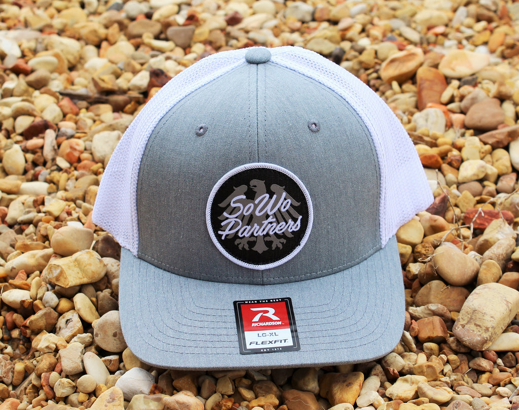 Grey/White Fitted Trucker Cap
