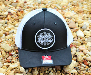 Black/White Fitted Trucker Cap