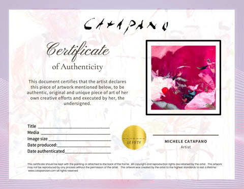 All my work comes ready to hang with a certificate of authenticity.