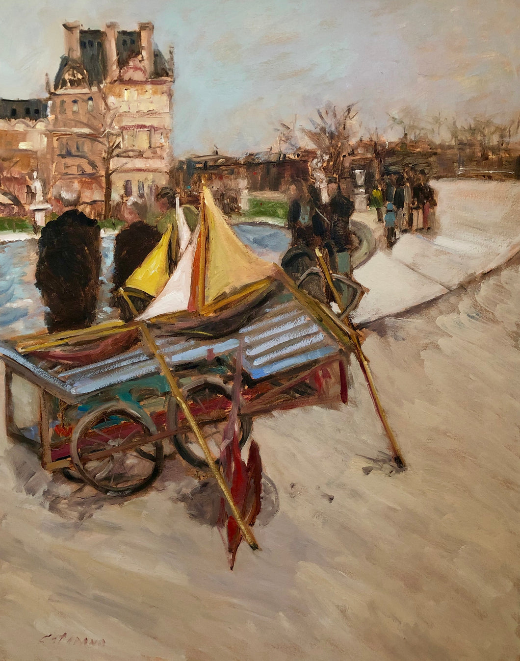 Paris Push Boats | 22x28 | Original Oil Painting