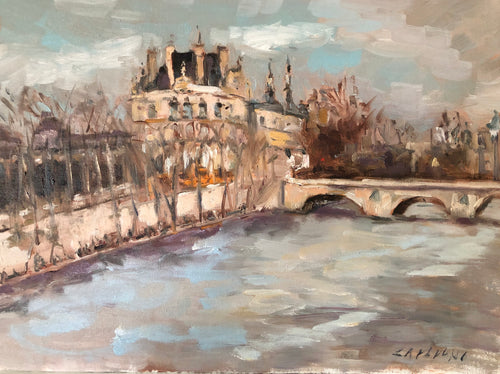 RIVER IN PARIS | 6X12 | ORIGINAL OIL PAINTING
