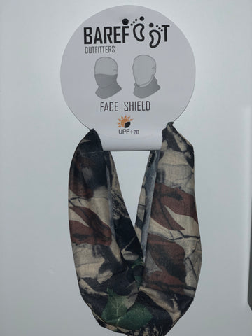 BAREFOOT OUTFITTERS FACE SHIELD REAL TREE CAMO