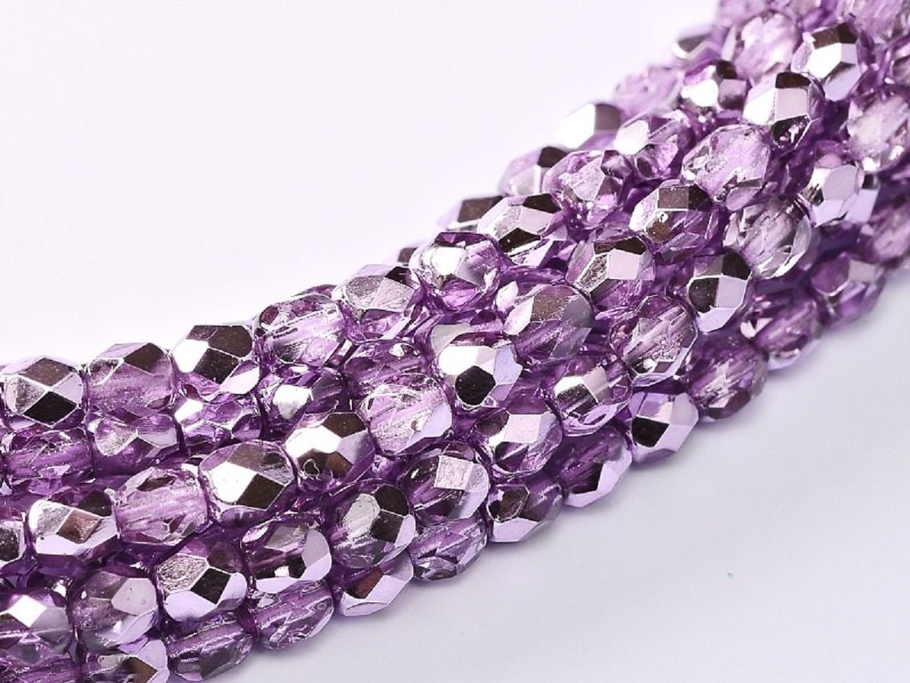 100 pcs 100 pcs Fire Polished Beads 4 mm Crystal Lilac Metallic Ice Czech Glass Purple