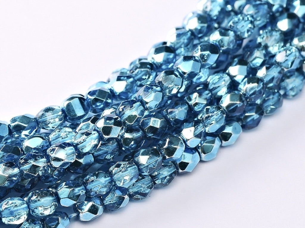 100 pcs 100 pcs Fire Polished Beads 4 mm Crystal Aqua Metallic Ice Czech Glass Blue