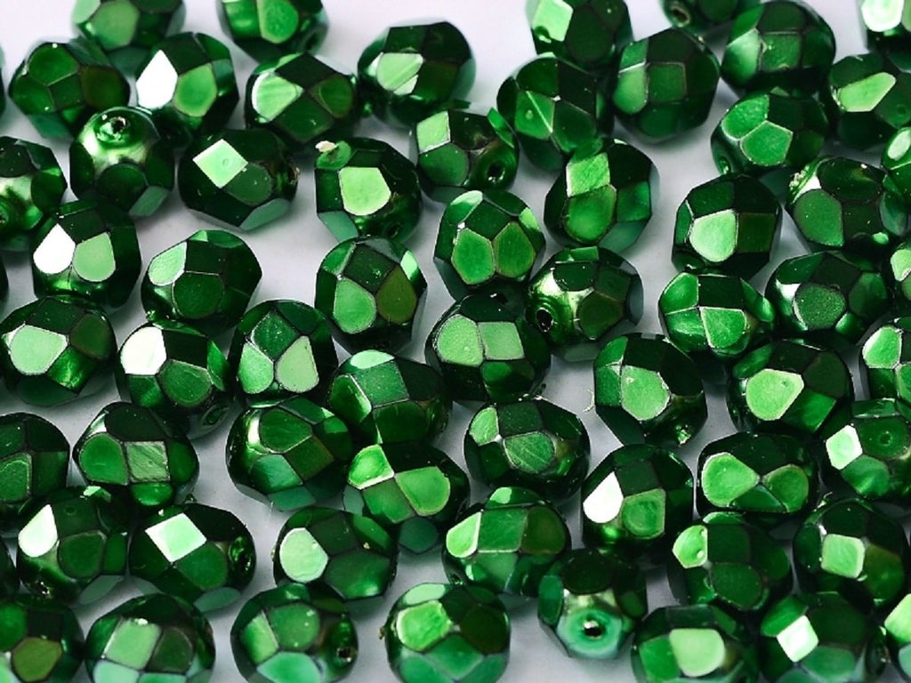 100 pcs 100 pcs Fire Polished Beads 4 mm Jet Heavy Metal Emerald Czech Glass Green