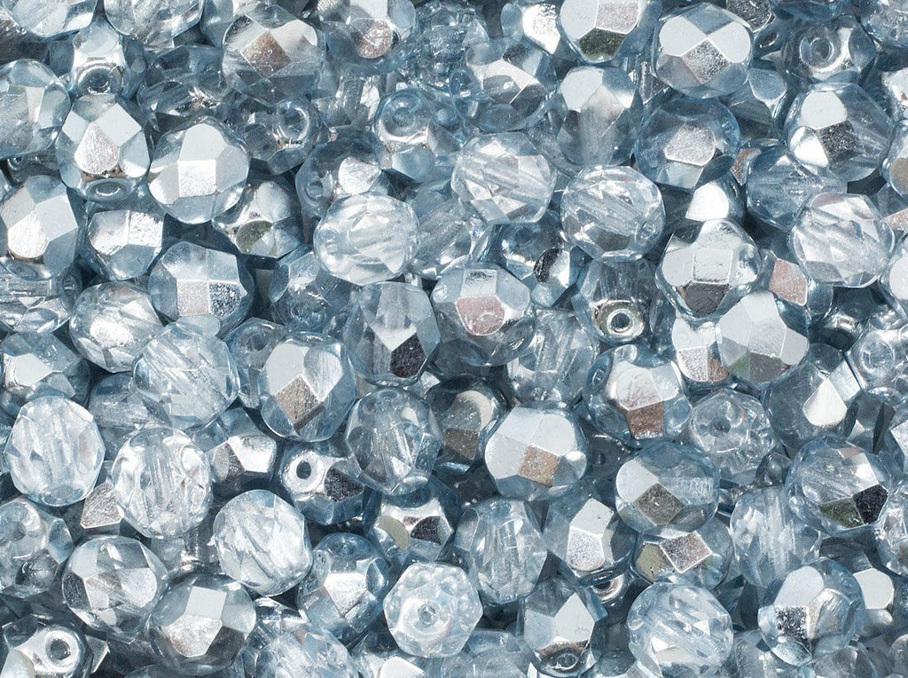 Fire Polished Faceted Beads Round 6 mm Crystal Comet Azore Light Czech Glass Grey Blue