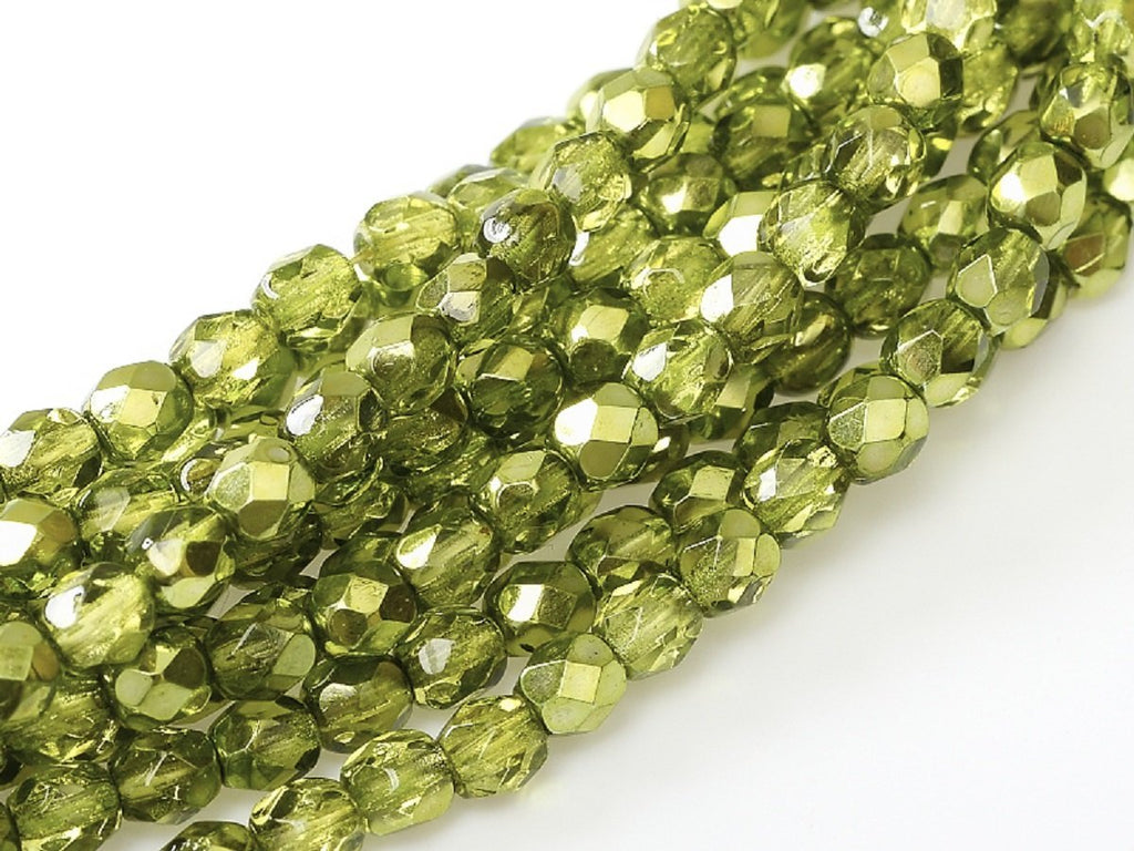 50 pcs 50 pcs Fire Polished Beads 6 mm Crystal Olive Metallic Ice Czech Glass Yellow