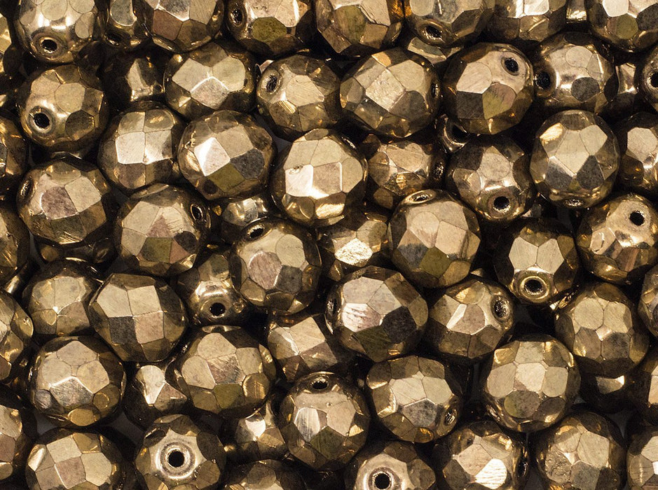 Fire Polished Faceted Beads Round 8 mm Jet Dark Gold Bronze Czech Glass Brown Gold