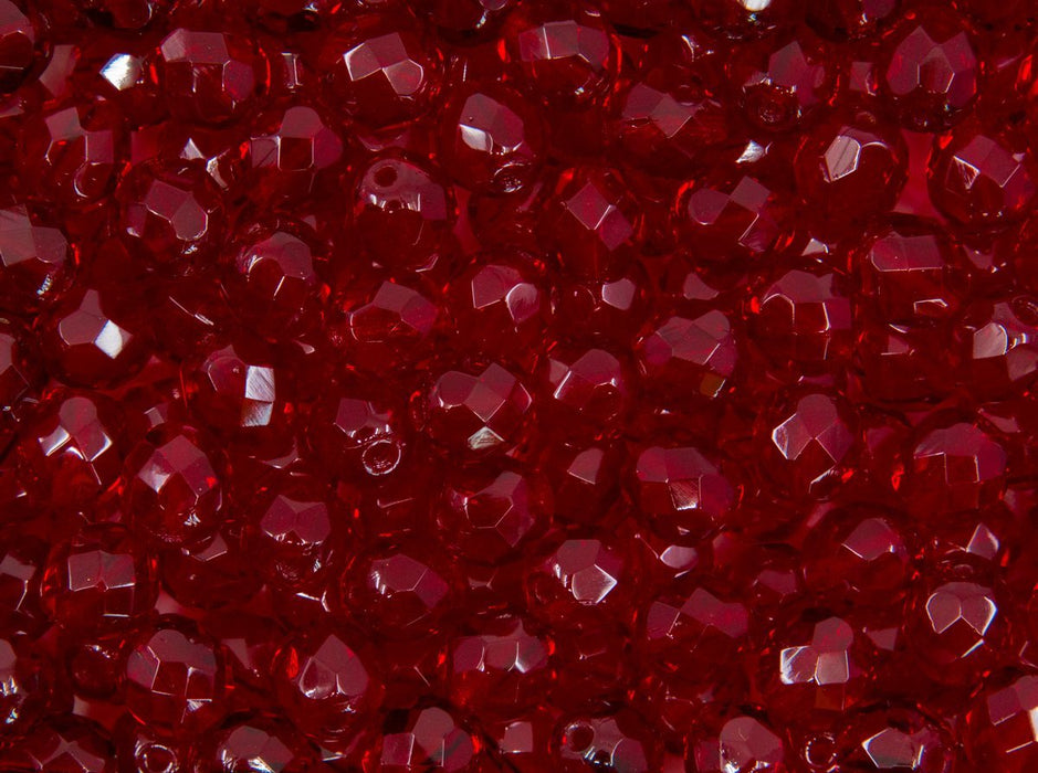 FP Faceted Beads Round 8 mm 8 mm Dark Ruby Czech Glass Red
